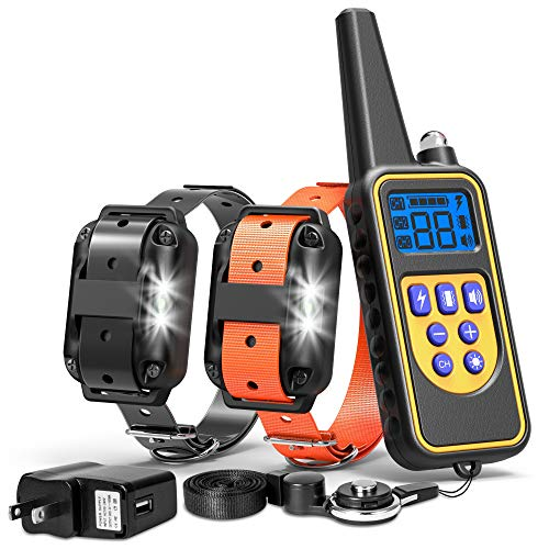 FunniPets Dog Training Collar, Waterproof Dog Shock Collar with Remote 2600ft Control Range E Collar for 2 Dogs with 4 Training Modes Light Shock Vibration Beep for Medium and Large Breed Dogs ()