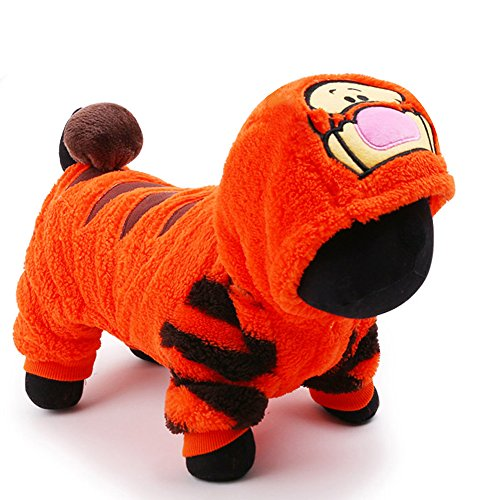 petcircle 2016 pet dog clothes for chihuahua in winter orange cute tiger dog jumpsuits dog hoodies coats size XXS-L (L, TIGER)