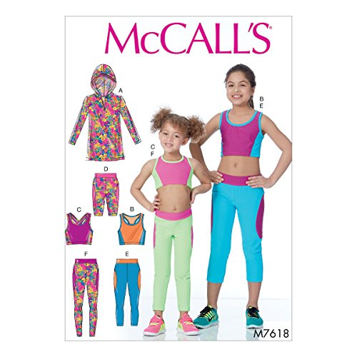 McCall's Patterns M7618CCE Children's/Girls' Activewear Tops and Leggings Sewing Pattern, CCE (3-4-5-6) -