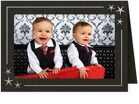 Christmas Cards Picture Insert (Embossed STARS premium photo insert Holiday Card sold in 25s -)