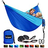 Unigear Double Camping Hammock, Portable Lightweight Parachute Nylon Hammock with Tree Straps for Backpacking, Camping, Travel, Beach, Garden (Dark Blue/Sky Blue)