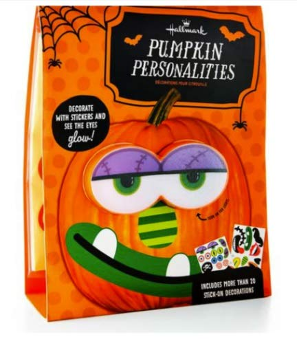 Hallmark Pumpkin Personalities Pumpkin Push In Decorating Kit with Stickers - Eyes Light Up and Change Color