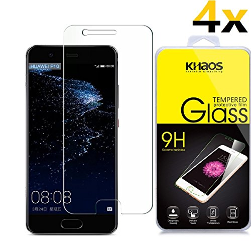 [4-Pack]-KHAOS for Huawei P10 Plus 2017 Screen Protector,HD Tempered Glass 2.5D Edge,Retail Package,Lifetime Replacement Warranty]()