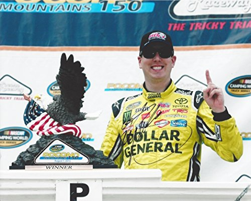 AUTOGRAPHED 2015 Kyle Busch #51 Dollar General Racing POCONO WIN (Camping World Truck Series) Victory Lane Trophy 8X10 Signed Picture NASCAR Glossy Photo with (Busch Truck Series)