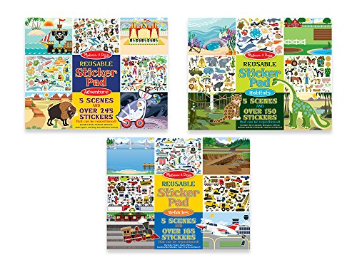 - Melissa & Doug Reusable Sticker Pads Set - Habitats, Vehicles, and Adventures