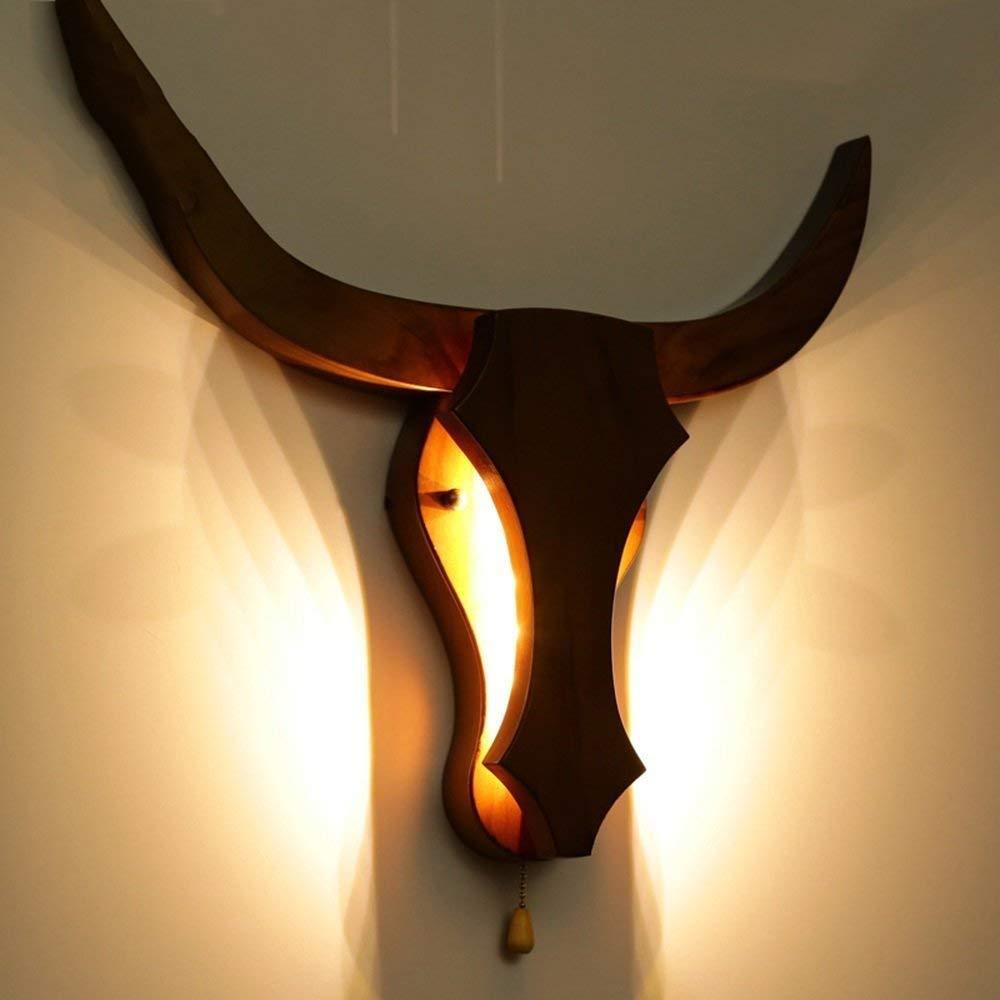 Oudan Die Schlafzimmer-Wandlampe-Studie-Café-Bar-Holz-Holz Der Kopf der Live-Stock-Wand-Lampe (Farbe   -, Größe   -)