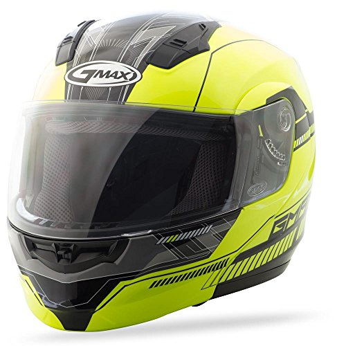 (GMax MD04 Hi-Viz Yellow/Black Modular Helmet -)
