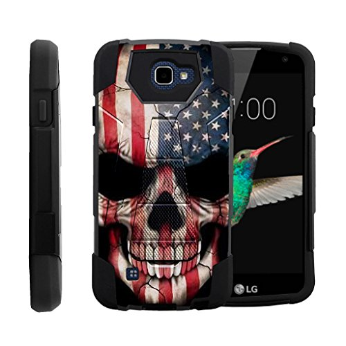 TurtleArmor | LG K4 Case | Optimus Zone 3 Case | LG Spree | LG Rebel [Dynamic Shell] Hybrid Dual Layer Hard Shell Kickstand Silicone Case - US Flag Skull
