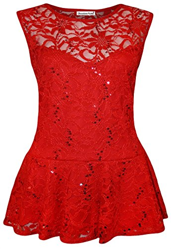 New Womens Plus Size Floral Lace Sequins Waist Frill Peplum Tops L US 12-14 - Sequin Peplum