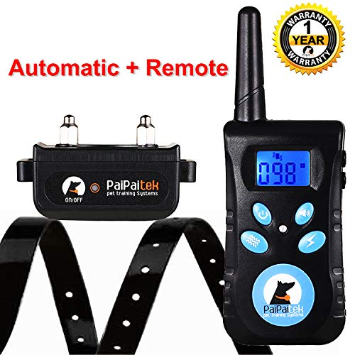 Paipaitek Large Dog Training Collar Two-in-One Remote Automatic Shock Vibrate Beep 100 Levels Rechargeable Pet Behavior Aid