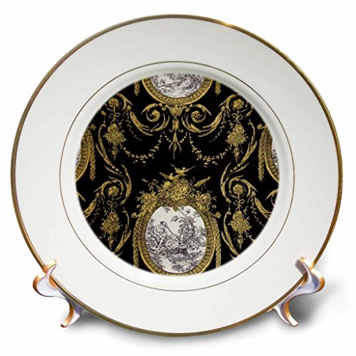 Toile Plate Porcelain (3dRose RinaPiro - Pattern - French toile. Gold and Black. - 8 inch Porcelain Plate (cp_268733_1))