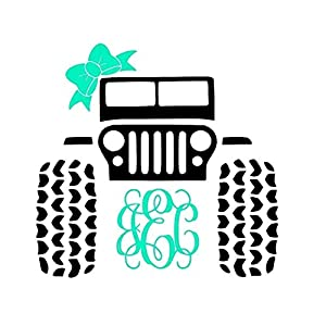Jeep 4x4 Monogram Decal Sticker | Works on YETI, RTIC, Coffee Mug, Auto, Mobile & More