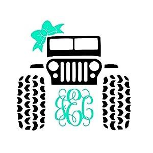 Jeep 4x4 Monogram Decal Sticker | Works on YETI, RTIC, Coffee Mug, Auto, Mobile & More