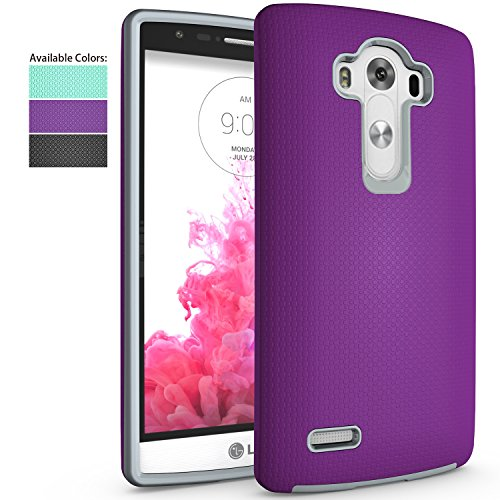 LG G4 Case,NiuBox Slim Fit Armor Dual Layer [PC + TPU Hybrid] Gear Textured Anti-Slip Shock Absorption Protective Phone Case Cover for LG G4 Purple