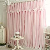 Queen's House Girls Pink Lace Bedroom Curtains Panels (Set of 2)-52''×95''