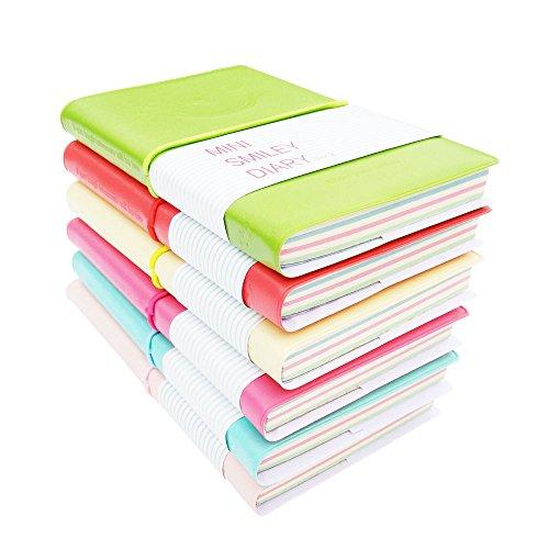 Mini Journal Set (Jaeske Portable Mini Smiley Diary Notebooks 100 Sheets Per Small Notebooks with Elastic Set of)