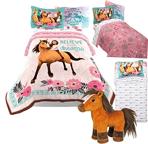 Spirit Riding Free DreamWorks Twin Size Comforter and Sheet Set + Bonus Plush Spirit Pony Horse Toy! ()