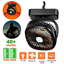 AIVANT LED Camping Lanterns Portable Tent Ceilling Fan, 4400mAh Battery/USB Powered Mini Desk Fan with LED Lights Camping Lamps Outdoor Kits for Hiking, Camping, Picnic, Fishing, Emergency (Black)
