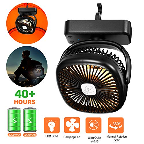 AIVANT Portable Camping LED Lantern, 2 in 1 Battery Powered Personal Fans with Tent Ceiling Hook Outdoor Flashlight LED Lamp