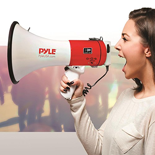 Pyle Megaphone Speaker PA Bullhorn - with Built-in Siren 50 Watts Adjustable Volume Control & Record Function - Ideal for Football, Baseball, Cheerleading Fans, Coaches or for Safety Drills PMP58U
