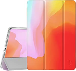 Dadanism Case for iPad 7th Generation 10.2 2019, [Shock Absorption] Ultra Slim Lightweight Trifold Stand Smart Cover with Hard Back Fit iPad 10.2 inch 2019 Tablet, Auto Sleep/Wake,Gradient Red & Pink