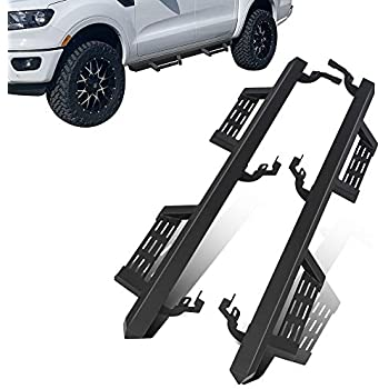 Black Side Steps Nerf Bars Running Boards Galaxy Auto 5 Oval Curved for 2019 Ford Ranger SuperCrew Cab