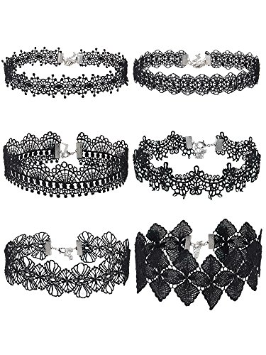 - Mudder Choker Necklace Black Choker Lace Choker Gothic Necklace for Women Girls, Black, 6 Pieces