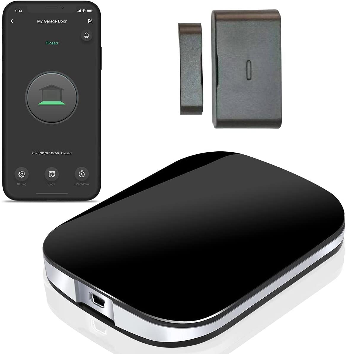 RAQUEL Smart Wi-Fi Garage Door Opener Remote , One Wireless Door Sensor, APP Control, Works with Amazon Alexa, Google Assistant, Siri, No Hub Required