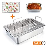 TeamFar Roasting Pan, 15 Inch Large Turkey Roaster Lasagna Pan with V Rack & Cooling Rack Set Stainless Steel For Thanksgiving Christmas, Healthy & Heavy Duty, Deep Side & Dishwasher Safe - 3 PCS