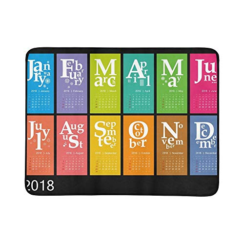 GIRLOS Creative Calendar 2018 Jazzy Concept Portable and Foldable Blanket Mat 60x78 Inch Handy Mat for Camping Picnic Beach Indoor Outdoor Travel