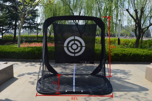 77tech Golf Practice Hitting Net Cage Automatic Ball Return System Tri-ball Golf Driving Chipping Net Training Aid with Target sheet and Two Side Barrier by Golf Net (Image #2)
