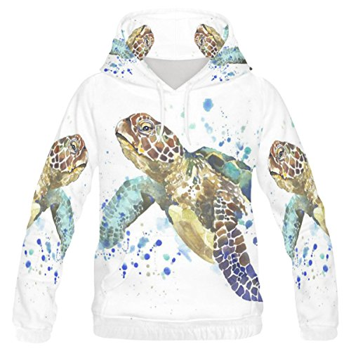 (INTERESTPRINT Custom Watercolor Wildlife Animal Sea Turtle Teenager's Pullover Hoodies Sweatshirt XXS)