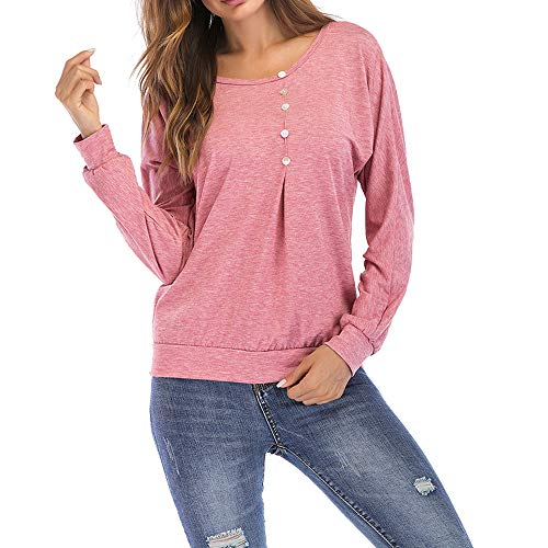 ENIDMIL Womens Button up Crew Neck Blouse Casual Long Sleeve Pullover Tops Loose Lightweight Tunic Sweatshirt (2XL, Light Pink)