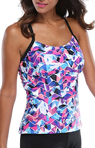 Charmleaks Women Tankini Swimsuit Tops Tankini Top Plus Size For Women Tankini sets, Large, Floral Purple