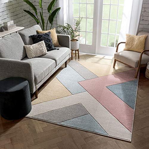 Well Woven Adie Multi Modern Geometric Triangle Boxes Beveled Pattern Area Rug 8×10 7'10″ x 9'10″