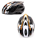 SAHOO Cycling Out-Mold Helmet MTB Bike Bicycle Helmets with LED Lights 3 Colors (Orange-White)