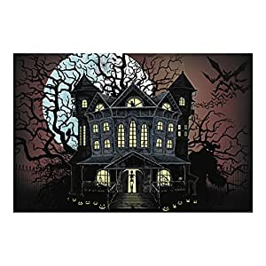 Halloween Haunted House Wall Mural Backdrop Banner Prop Decoration 9ft x 6ft