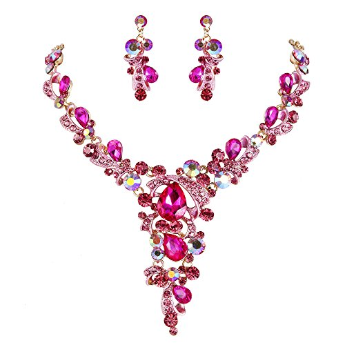 - BriLove Wedding Bridal Necklace Earrings Jewelry Set for Women Crystal Leaf Vine Teardrop Hollow Statement Necklace Dangle Earrings Set Fuchsia Gold-Toned