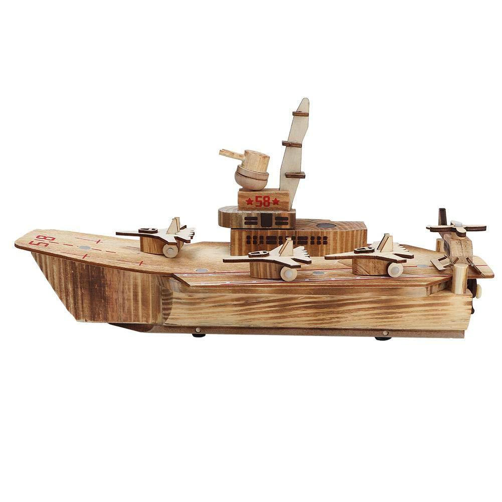 Tnfeeon Aria di Nave Barca Portaerei con Assesori Inclussi Simulazione Elicottero Ornament Regalo di Compleanno per Bambini Toddler
