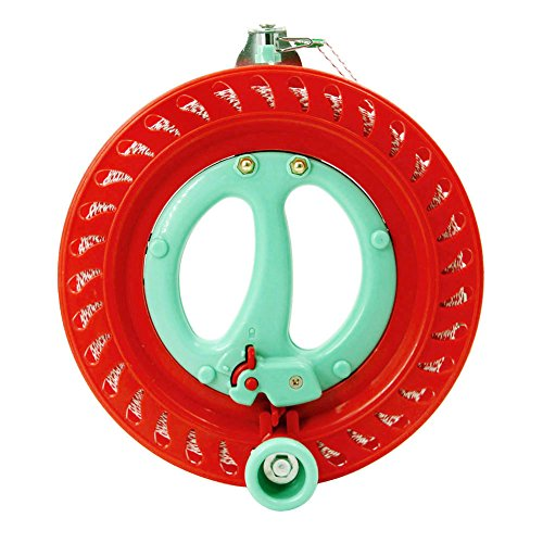 emma kites 7inch Lockable Kite Reel Winder with Durable Dacron Kite Line Red Smooth Rotation Ball Bearing Tool for Single Line Delta Diamond ()