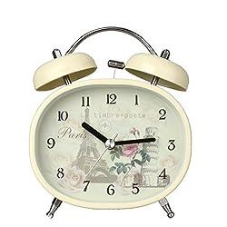 Twin Bell Alarm Clock with Nightlight, Loud Alarm, Oval, Vintage Egg Style, (Eiffel Tower)
