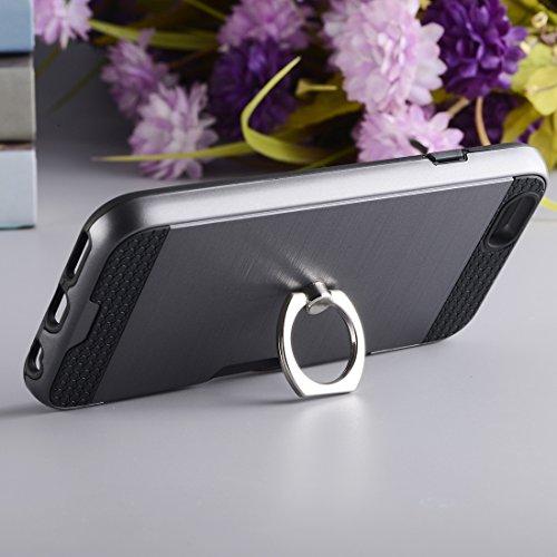 Wkae Textura de metal de protección trasera con soporte de anillo de soporte y ranura para tarjeta para el iPhone 7 ( SKU : Ip7g5016j ) Ip7g5016h