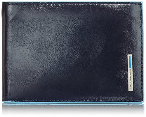 Piquadro Man's Wallet In Leather, Dark Blue/Dark Blue, One Size by Piquadro