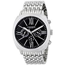 Akribos XXIV Men's AK636SSB Retro Swiss Multi-Function Black Dial Stainless Steel Pillow-Cut Bracelet Watch