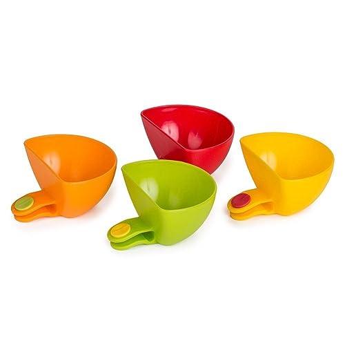 [4 Pack] Starworld Plate Clip-on Holder, Assorted Dip Clip Container Dish for Tomato Sauce, Salt Vinegar Sugar Flavor Spices Bowl/Random Colour
