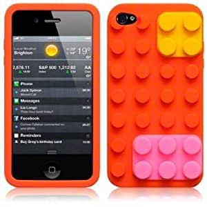 Brick Style Soft Silicone For HTC One M7 Case CoverOrange with 3 Screen Protectors and Stylus
