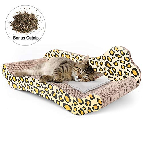 PrimePets Cat Scratcher Lounge, Corrugated Cat Cardboard Couch, Scratch Bed Reversible Scratching Lounger Sofa with Catnip, Kitty Scratcher Lounge ()