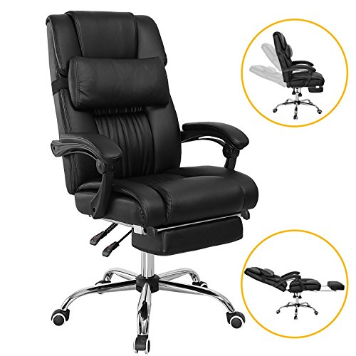 Voilamart High Back Executive Office Chair Recliner Swivel with Foot Stool PU Leather Thick Padded Seat - Black (Black Leather Chair And Footstool)