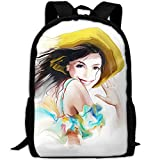 CY-STORE Smile Hat White Painting Art Print Custom Casual School Bag Backpack Travel Daypack Gifts