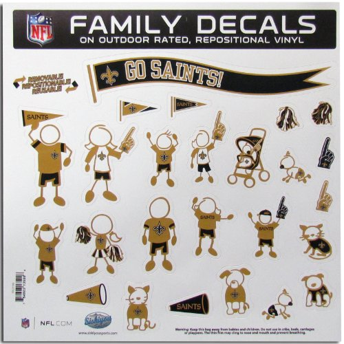 Family Decal Nationals - NFL New Orleans Saints Large Family Decal Set